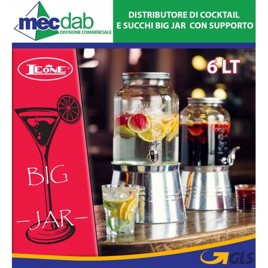 Distributore di Cocktail e Succhi Big Jar 6 Lt con Supporto Leone