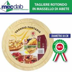 Tagliere Tondo in Massello di Abete Ø30 Cm per Taglio Pizza salumi ed altro