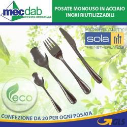 Posate Monouso in Acciaio Inox Conf 20 100% Ecologiche Riciclabili e Riutilizzabili Sola