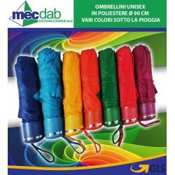 Ombrellini Unisex in Poliestere Ø 90 Cm Vari Colori Sotto la Pioggia
