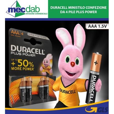 Batterie Duracell ministilo AAA 1.5V Confezione da 4 pile Plus Power LR03/MN2400