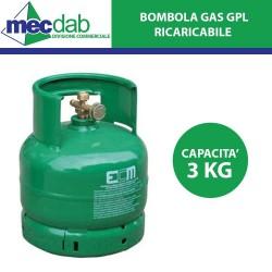 Bombola Gas Propano GPL 3Kg Ricaricabile ECM H33 CM x Ø 21 CM