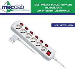 Multipresa 6 Posti 16A - 3500W 1,5 MT - 6 Schuko / Bipasso Indipendenti con Interruttori Luminosi