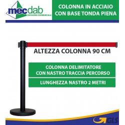 Colonnina Delimitatore Mantieni Distanza Con Nastro Rosso Colonna in Acciaio Base Tonda Piena 2 MT