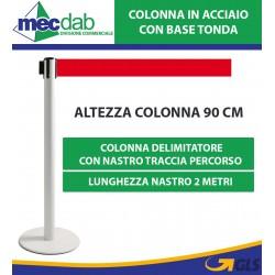 Colonnina Delimitatore Mantieni Distanza Con Nastro Rosso Colonna in Acciaio Base Tonda 2 MT