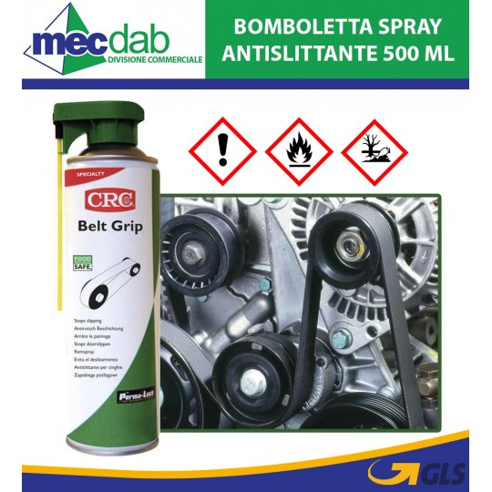 Spray Per Cinghie Trapezoidali Bomboletta 500 ML CRC Belt Grip Antislittante