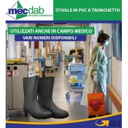 Stivale a Tronchetto In PVC Con Base in Gomma Nera a Carrammato Varie Taglie