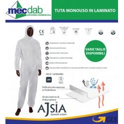 Tuta Monouso In Laminato Cat 3 Protezione Chimica Ajsia A01200 Varie Taglie