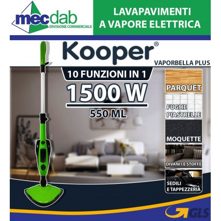 Lavapavimenti a Vapore Elettrica  1500W 10 in 1 Kooper Vaporbella Plus 550ml