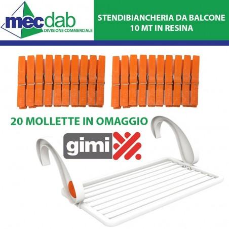 Stendibiancheria da Balcone in Resina Bianco 10MT 20 Mollette in Omaggio - GIMI
