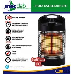 Stufa Oscillante con Resistenza in Fibra Carbonio 360° Termoventilatore Griglia Anticalore 700W