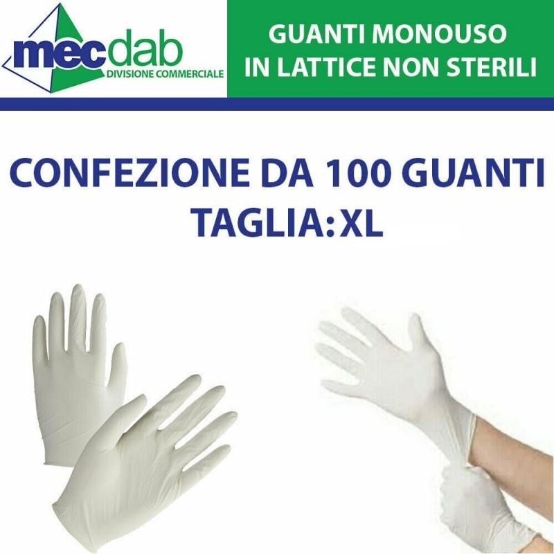 Guanti in Lattice Monouso non Sterili Taglia XL 100 Pz