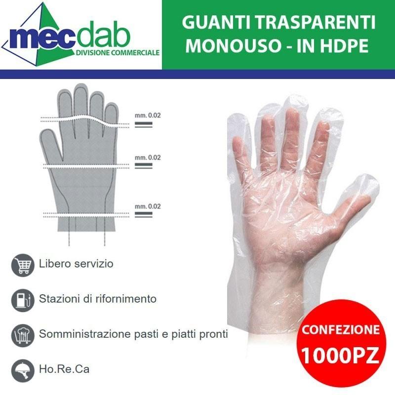 Guanti Monouso Trasparenti HDPE Confezione 1000 PZ