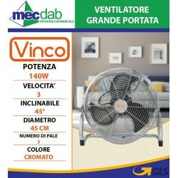 Ventilatore grande con portata finitura cromata VINCO
