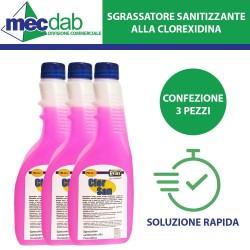 Sgrassatore Sanificante Azione Rapida a Base di Clorexidina Confezione 750ML Kit 3 Pz