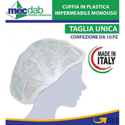Cuffia Impermeabile Monouso in Plastica Taglia Universale 10 Pezzi