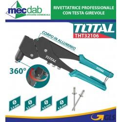 """Rivettatrice Con testa Girevole 10,5"""" Corpo in Acciaio Ed Alluminio Total THT32106"""