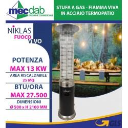 Stufa a Gas - Fiamma Viva in Acciaio 13KW 25MQ Termopatio Niklas