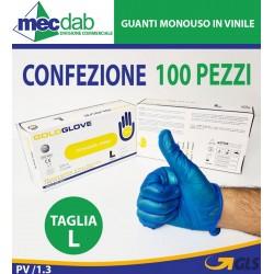 Guanti Monouso in Vinile Blu Confezione Da 100 Pezzi Varie Taglie Disponibili