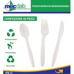 Posate Biodegradabili In C-PLA Confezione Da 50 Pezzi