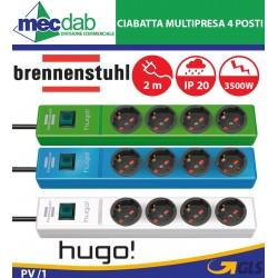 Ciabatta Multipresa 4 Posti Schuko Bipasso 2 Metri 3500W 16Ah Brennenstuhl Hugo CSL 4