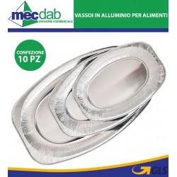 Vassoio Monouso In Alluminio Ovale Per Portata Alimenti Confezione Da 10 Pezzi
