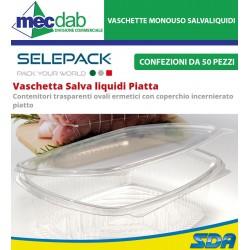 Vaschette Rettangolari Per Alimenti In OPS Con Coperchio Contenitori Salvaliquidi Monouso 50 Pezzi
