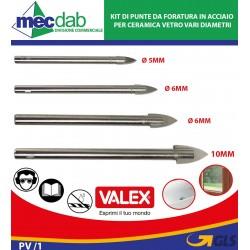 Kit di Punte da Foratura in Acciaio per Ceramica Vetro e Metalli Vari Diametri Valex