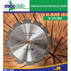 Disco Per Legno In Acciaio Per Taglio Legno Ø 230 mm 12 Denti