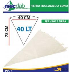 Filtro Enologico Conico In Tela Di Cotone 40 LT Lavabile Per Vino e Birra