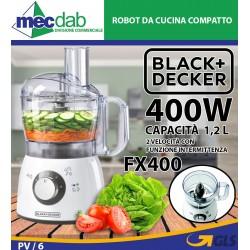 Robot da Cucina Compatto Completo di Accessori 400W 1,2 lt FX400 Black + Decker
