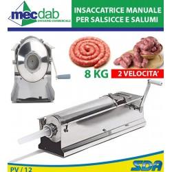 Insaccatrice Manuale 2 Velocità 8 Kg Per Salsicce e Salumi In Acciaio Inox 8 KG Palumbo