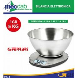 Bilancia da Cucina Elettronica 1Gr/5Kg in Acciaio Inox G3 Ferrari G20062