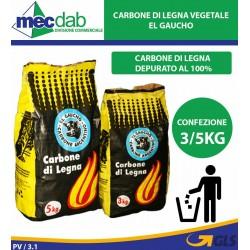 Carbonella Vegetale di Legna per Barbecue Di Quebracho Blanco 3/5Kg