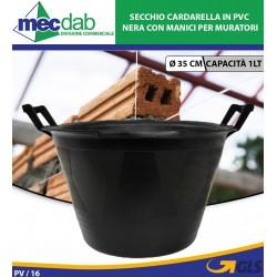 Secchio Cardarella in PVC Nera con Manici Ø 36 Cm per Muratori 1Lt
