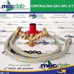 Centralina Gas GPL Modello a Y Per 2 Bombole 4 kg/h Con Flessibili 50 Cm Mondial