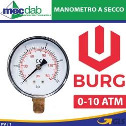 Manometro a Secco 0-10 ATM Ø 60 mm Per Misurazione Pressione Burg 1500003