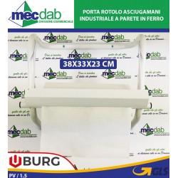 Porta Rotolo Asciugamani Industriale a Parete in Ferro 38x33x23h Cm Burg