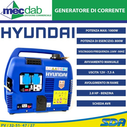 Generatore Di Corrente 0.8 Kw Motore 4 Tempi 2.8HP Hyundai STG1000