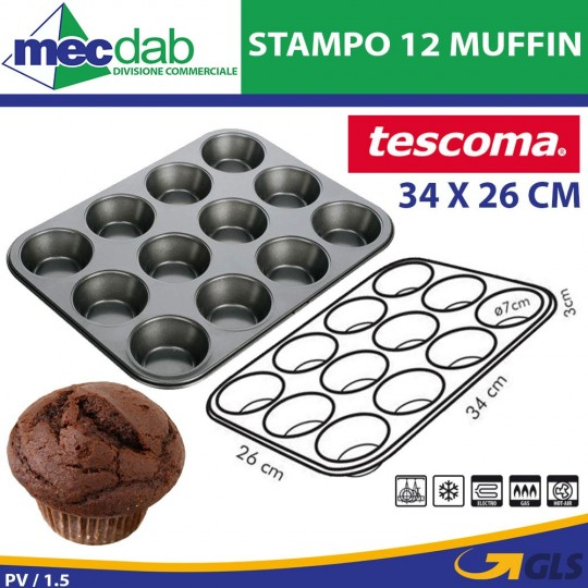 Stampo Forma 12 Muffin 34 x 26 Cm Antiaderente Tescoma