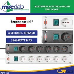 Ciabatta Multipresa Elettrica 6 Posti 3 Metri 6 Schuko / Bipasso 3500W Bremounta