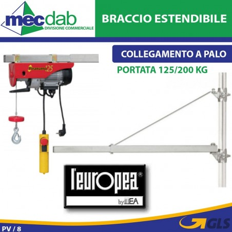 Braccio Estendibile Per Paranco Montacarichi L'europea 125/200 Kg