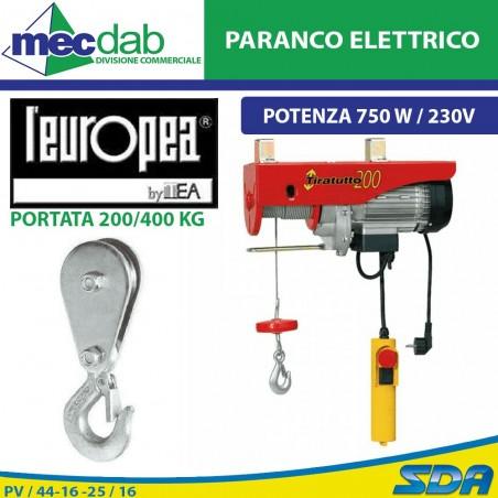 Paranco Elettrico Elevatore 750 W 200/400 Kg Carrucola Tiratutto L'europea