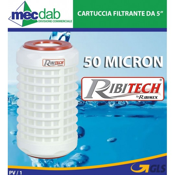"""Cartuccia Filtrante 5"""" Lavabile Anti-fango 50 Micron Ribitech PRFIL5CFL"""