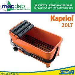 Vaschetta Lavaggio a Tre Rulli in Plastica con Fori Antiscivolo Pulitura Superfici 20 lt Kapriol