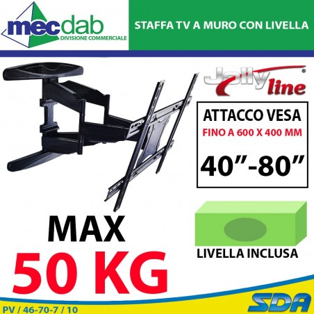 """Staffa a Muro Per TV Braccio Girevole Con Livella Attacco Vesa 40-80"""" 50 Kg"""
