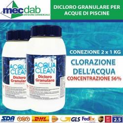 Dicloro Granulare Per Piscine Acqua Clean 2 KG Concentrazione 56%
