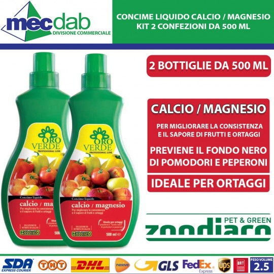 Concime Liquido Per Pomodori e Peperoni a Base Di Calcio e Magnesio 2 Bottiglie Da 500 ml Oro verde