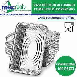 Vaschette per Alimenti in Alluminio con Coperchio 100 Pezzi Varie Porzioni