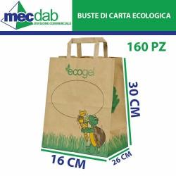 Shoppers 160 Buste di Carta Riciclata Termica 26+16x30 Cm